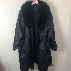 Leather & faux Fur collar Venezia coat sz 26/28